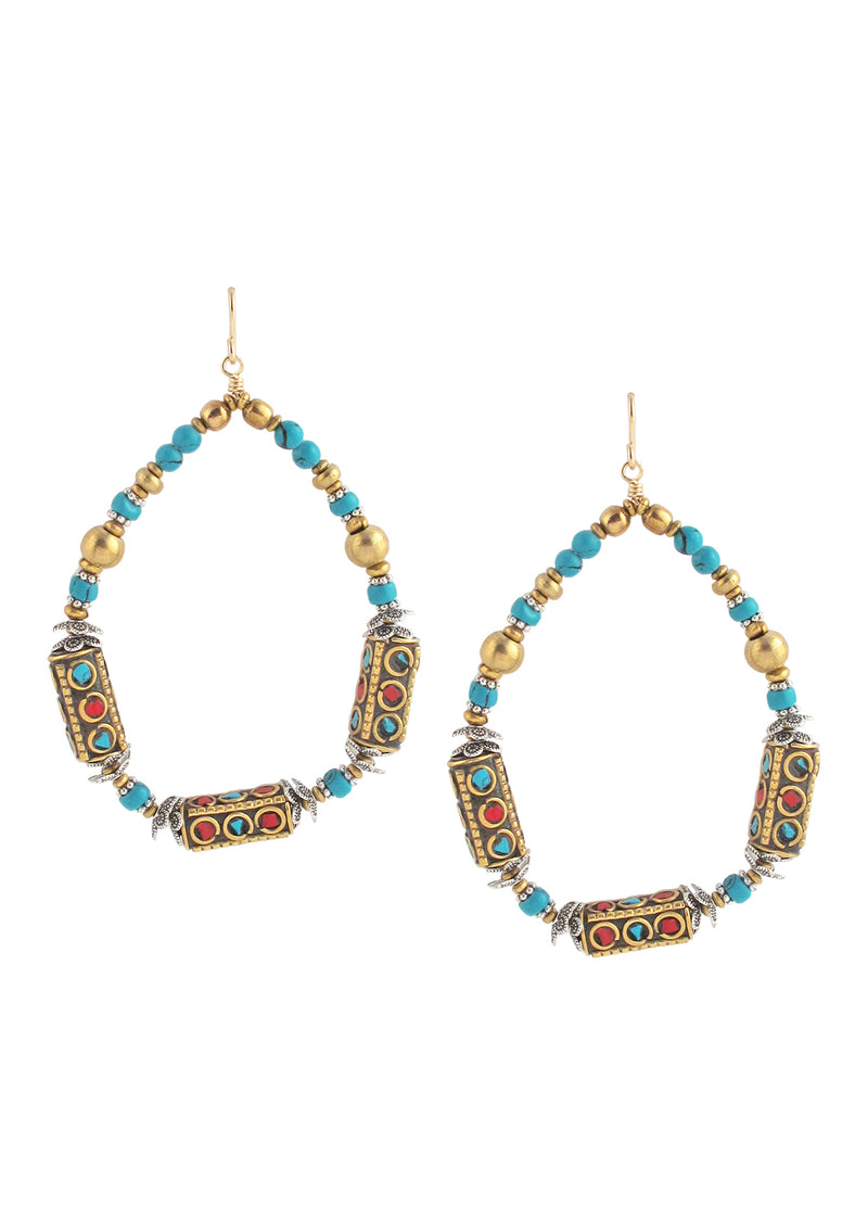 Ethnic Turquoise Coral and Brass Earrings