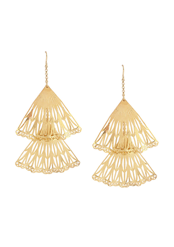 Double Gold Fan Earrings