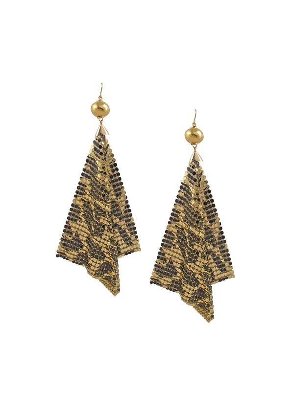 Black and Gold Animal Print Mesh Earrings
