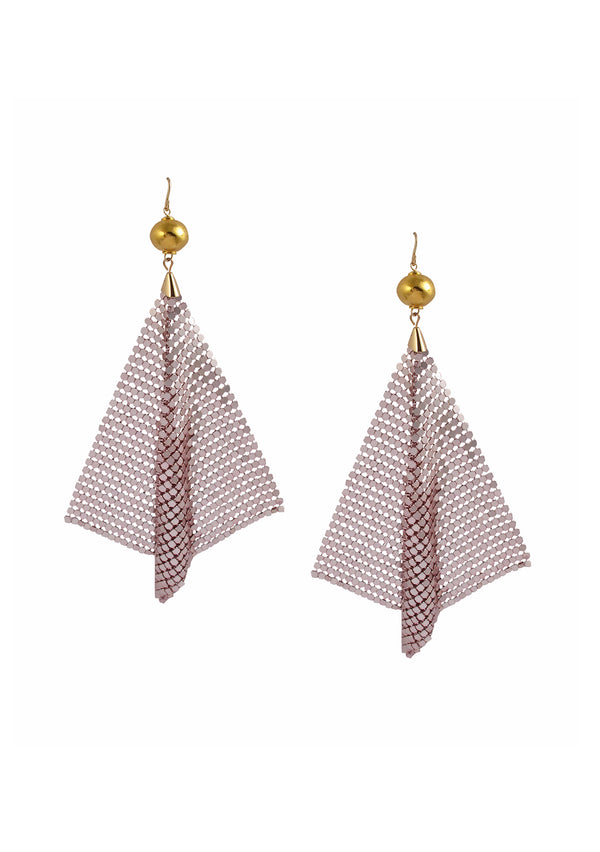Pink Mesh Gold Accent Earrings