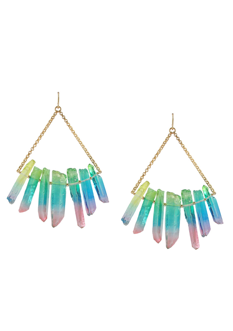 Rainbow Quartz Spike Earrings