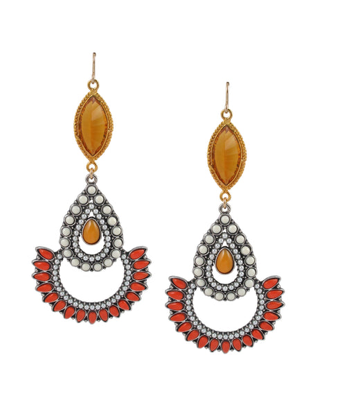 Amber Resin Bezel Multicolor Teardrop Earrings