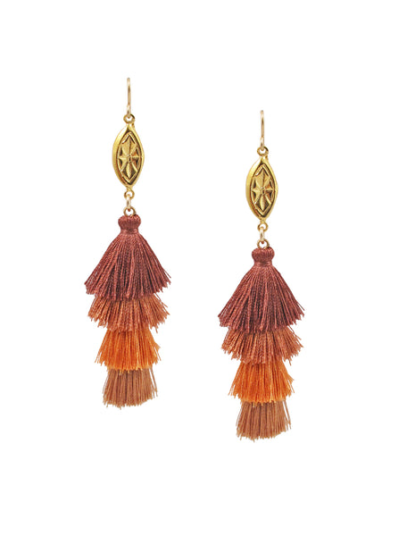 Gold Accent Graduated Brown Tassel Earrings