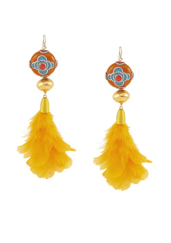 Yellow Feather Ethnic Gold Earrings