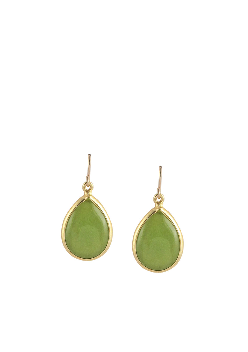 Green Jade Bezel Earrings