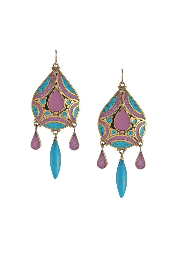 Purple and Blue Turquoise Ethnic Earrings