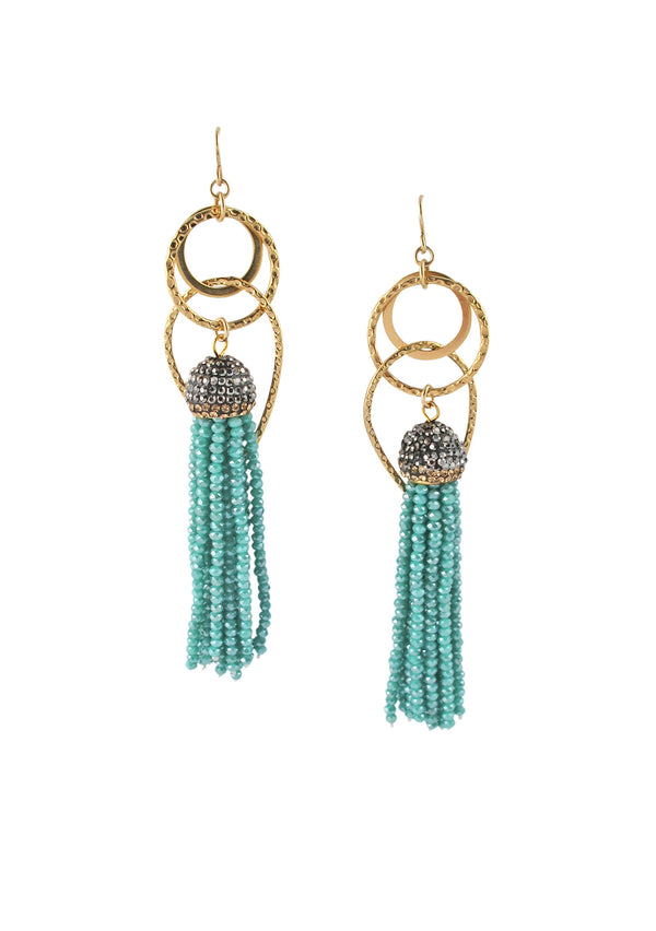 Blue Crystal Tassel Gold Dangle Earrings