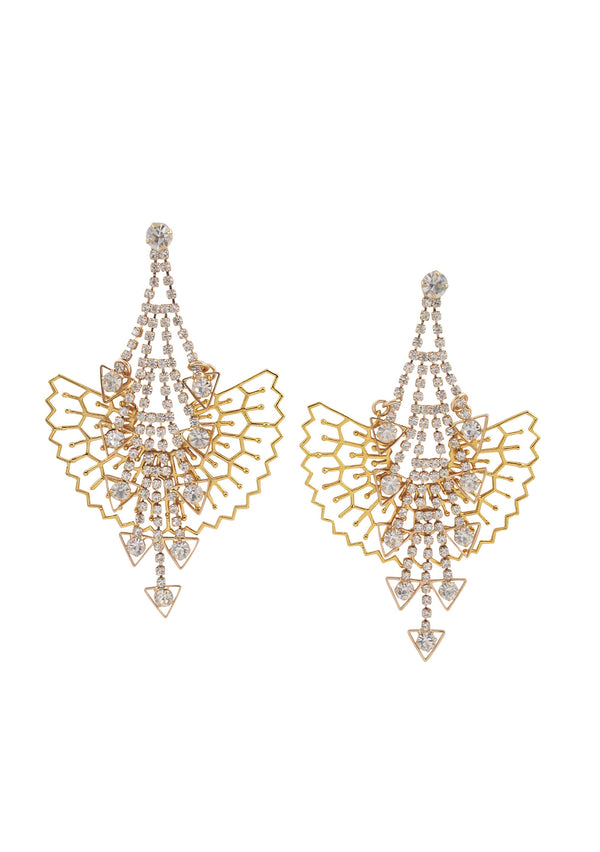 Gold Filigree Crystal Chandelier Post Earrings