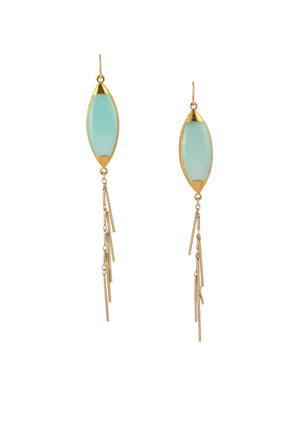 Blue Chalcedony Gold Fringe Earrings
