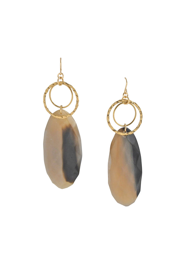Buffalo Horn Gold Accent Earrings