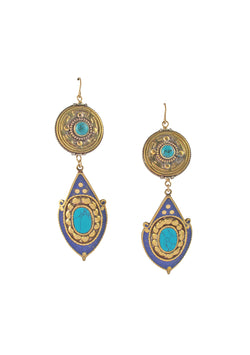 Turquoise Lapis Brass Ethnic Earrings