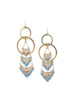 Seed Bead Fringe Gold Dangle Earrings