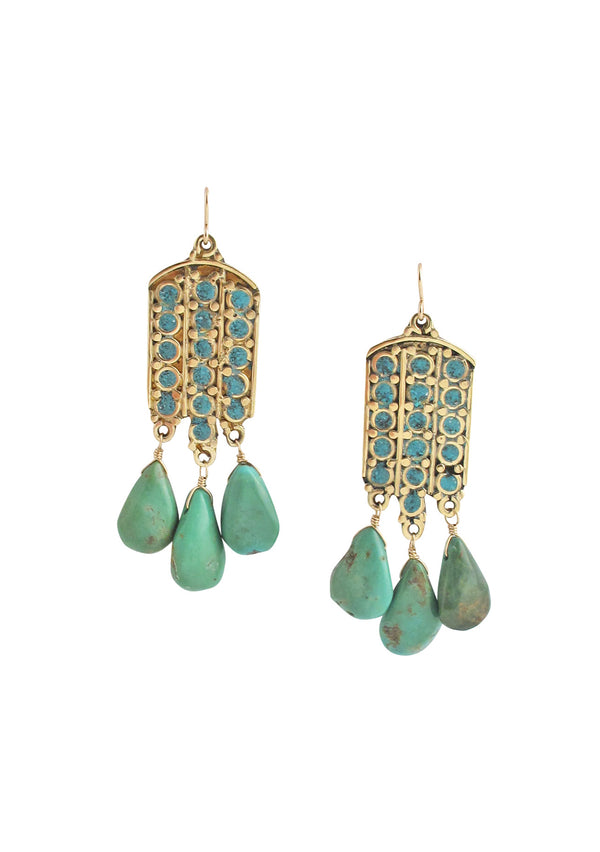 Ethnic Turquoise Drop Earrings