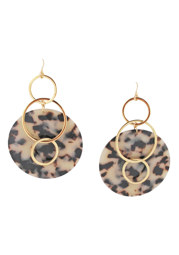 Animal Print Gold Dangle Earrings