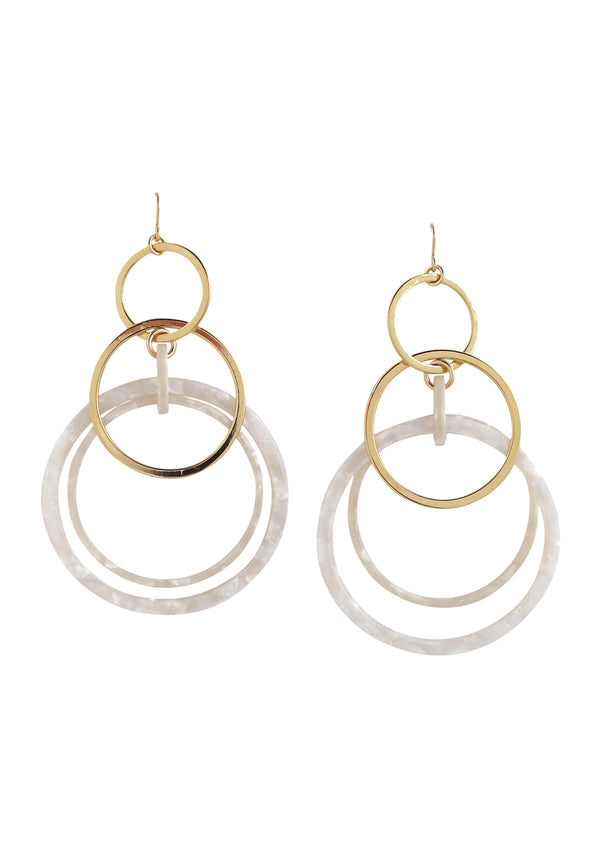 Gold and White Circle Dangle Earrings
