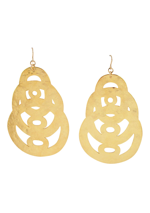 Hammered Gold Flat Circle Earrings