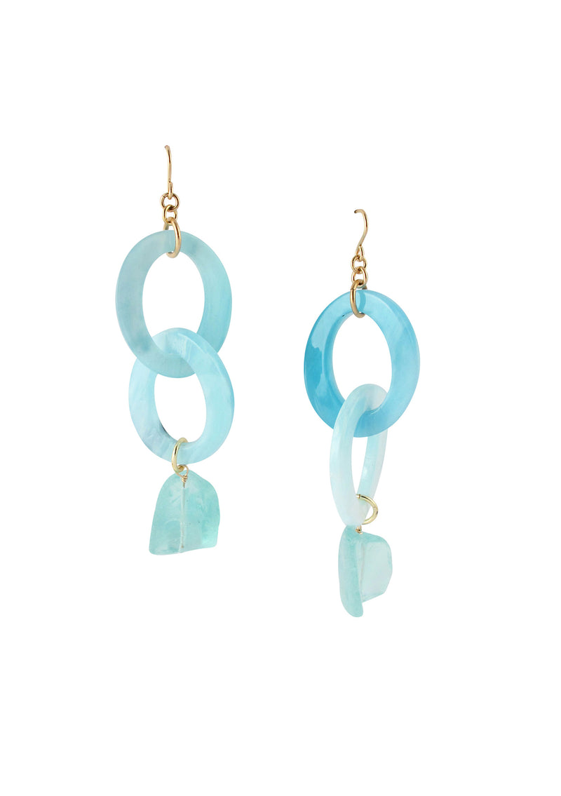Raw Blue Quartz Blue Resin Drop Earrings