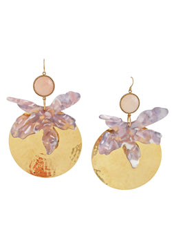 Rose Quartz Gold Medallion Earrings