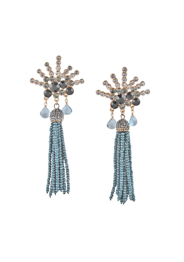 Crystal Tassel Post Earrings