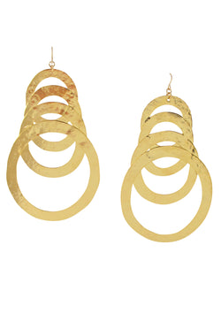 Large Hammered Multi Circle Gold Earrings