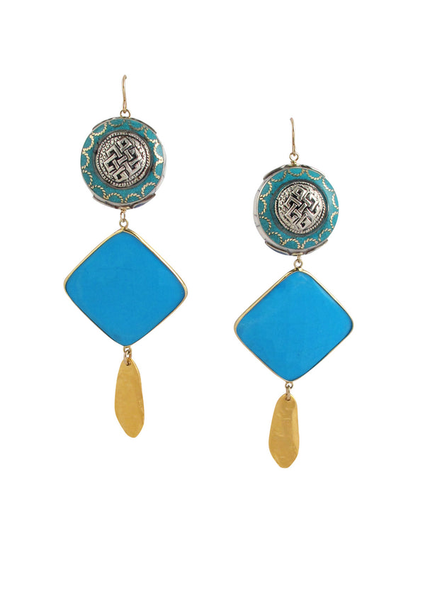 Ethnic Turquoise Gold Earrings