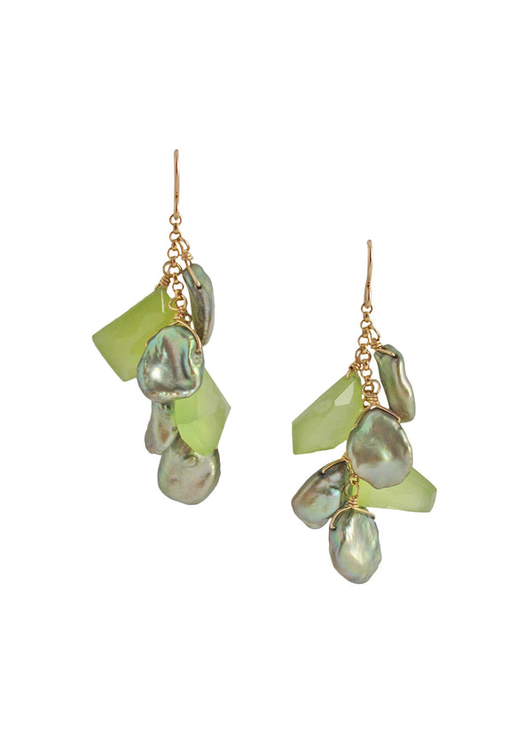 Green Pearl Cluster Earrings