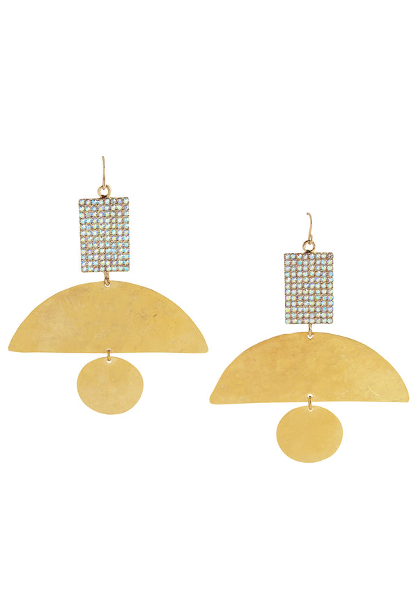 Crystal Gold Statement Earrings