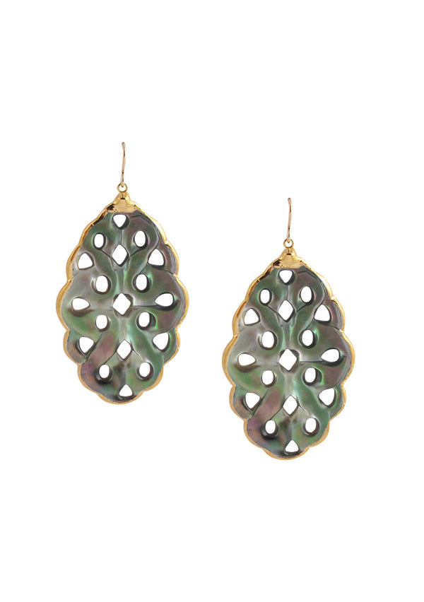 Black Mother of Pearl in Gold Foil Earrings