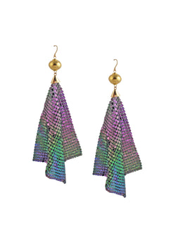 Purple Rainbow Mesh Earrings