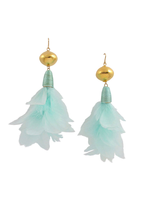 Aqua Feather Gold Accent Earrings