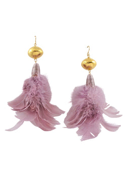 Lavender Feather Gold Accent Earrings