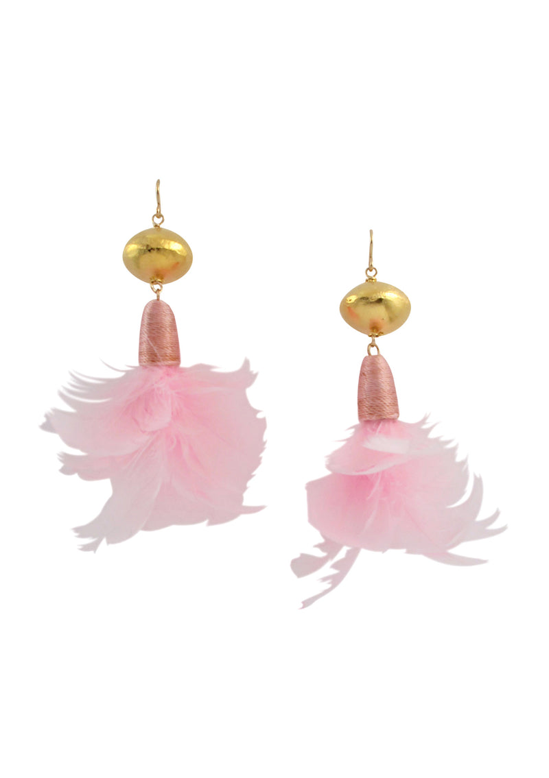 Pink Feather Gold Accent Earrings