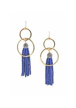 Blue Tassel Gold Dangle Earrings