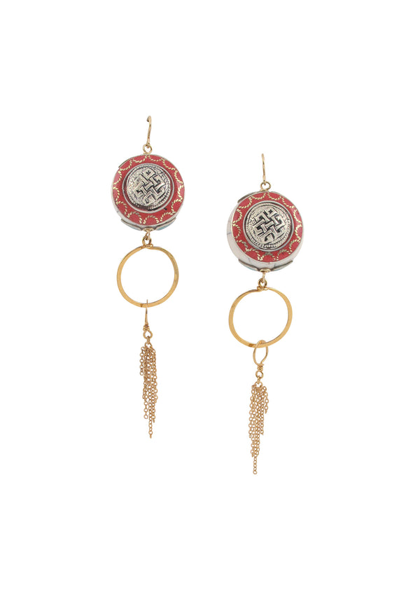 Red Coral White Shell Gold Dangle Earrings