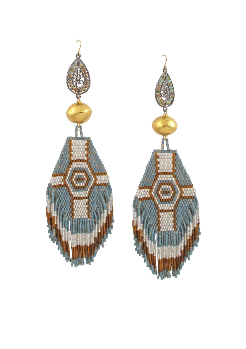 Gold Accent Ethnic Fringe Earrings