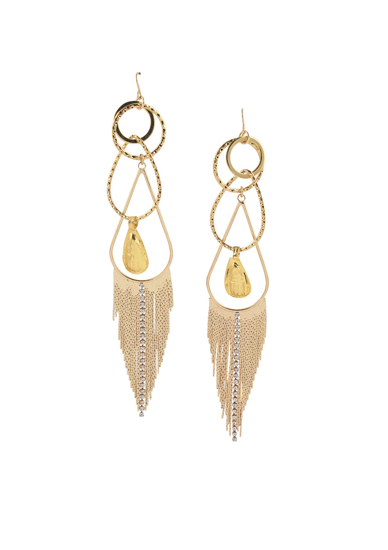 Gold and Crystal Fringe Dangle Earrings