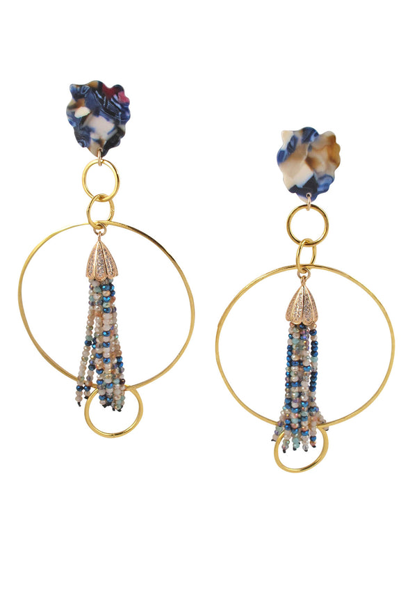 Gold Circle Blue Pink Tassel Post Earrings