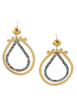 Large Gold and Multicolor Crystal Earrings