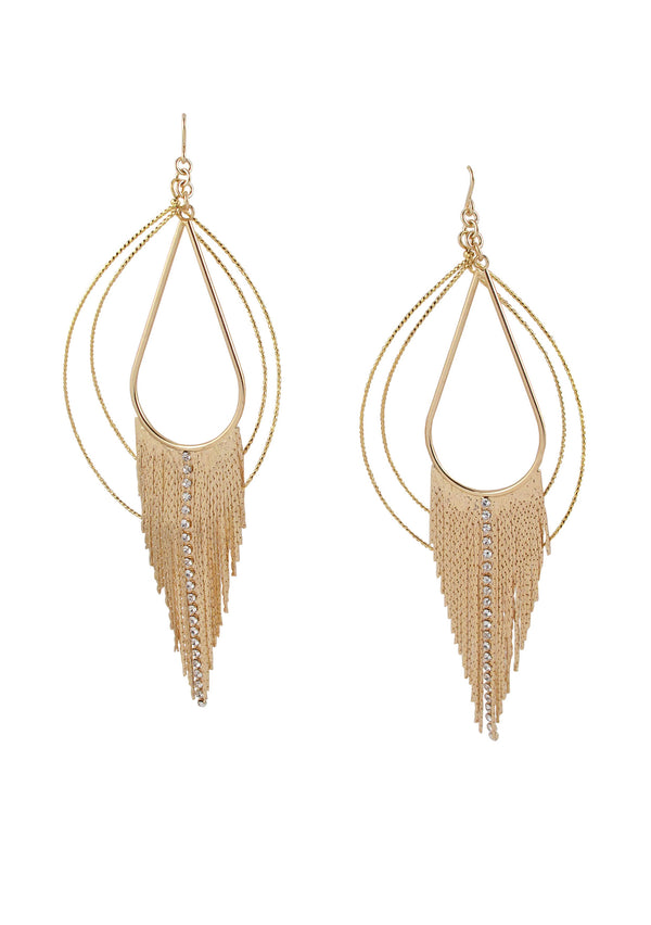 Gold Crystal Fringe Earrings