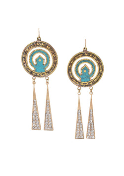 Crystal Turquoise Ethnic Earrings