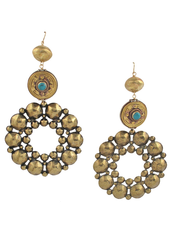 Ethnic Brass Turquoise Earrings