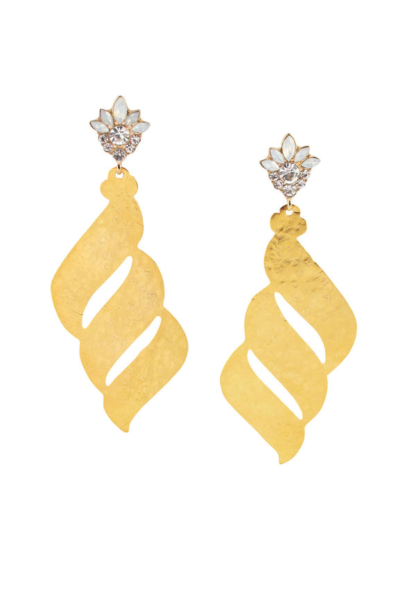 Hammered Gold Crystal Post Earrings