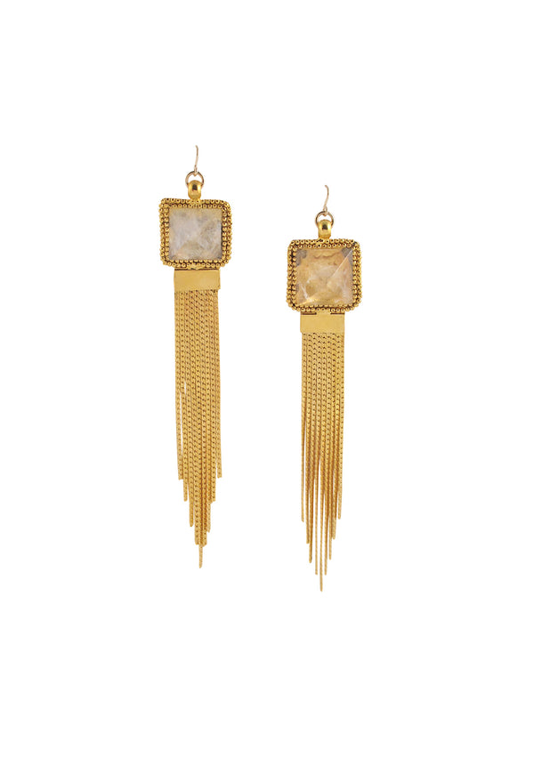 Clear Quartz Gold Tassel Earrings