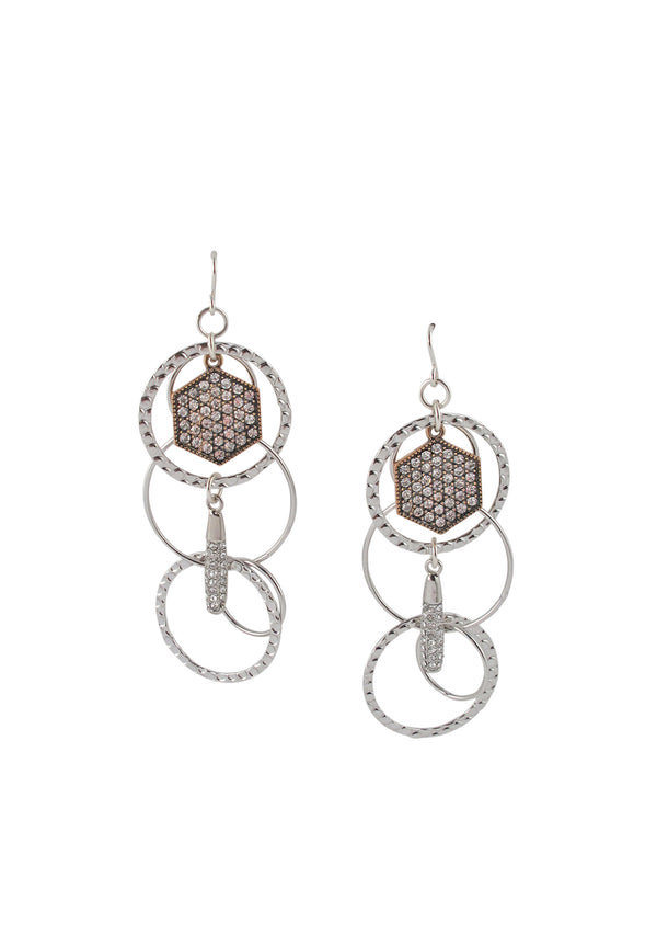 Crystal Detail Rhodium Dangle Earrings