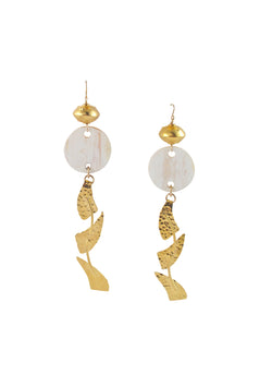 Long Gold and Horn Statement Earrings