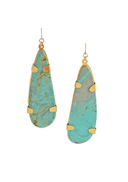 Natural Turquoise Gold Earrings