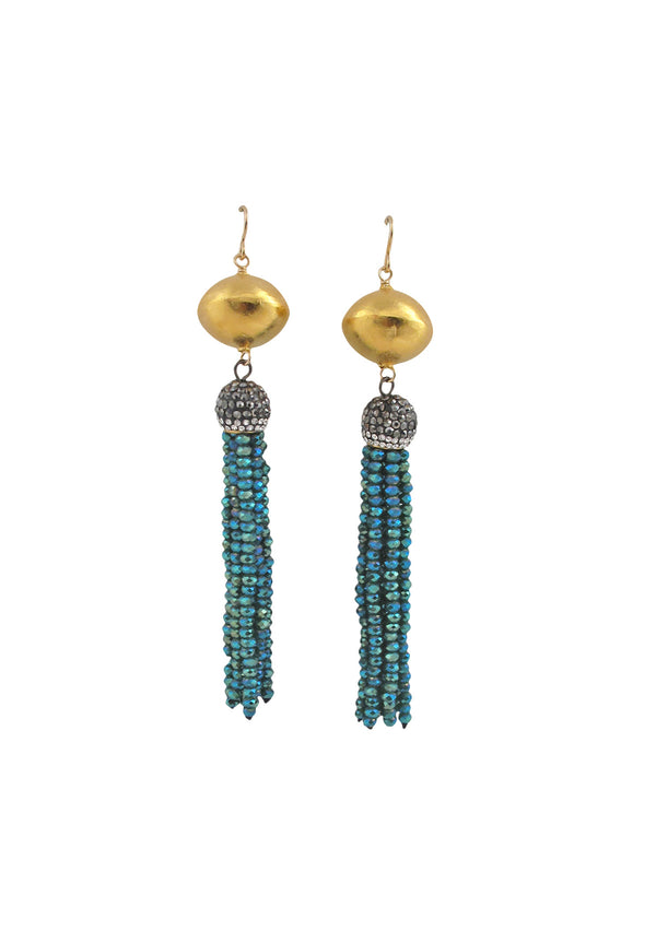Teal Crystal Tassel Gold Drop Earrings