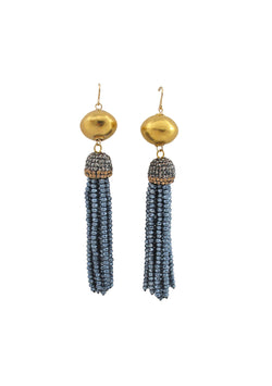 Blue Crystal Tassel Gold Earrings