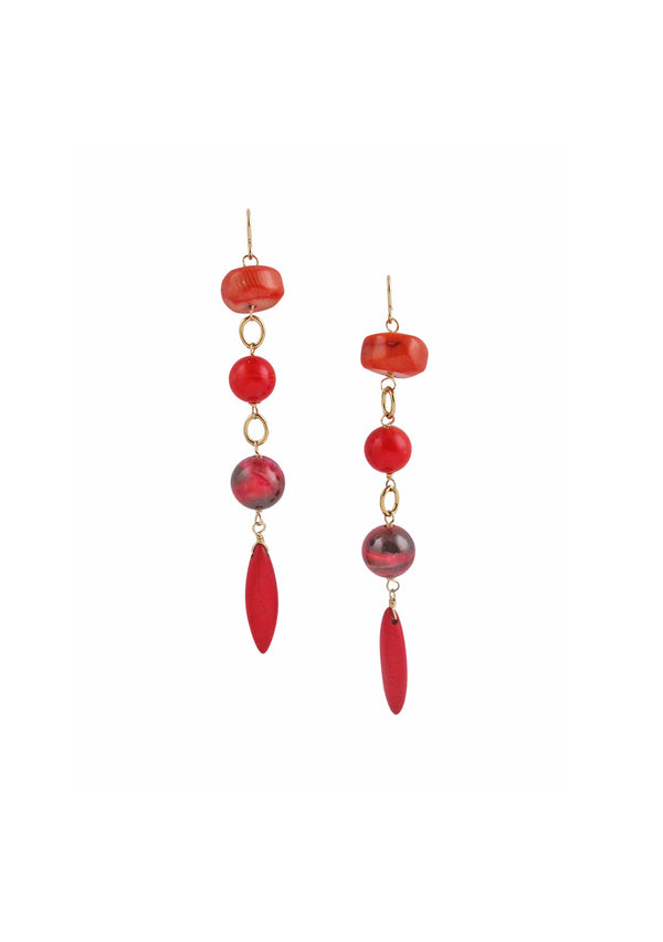 Pink Tiger's Eye Red Coral Earrings
