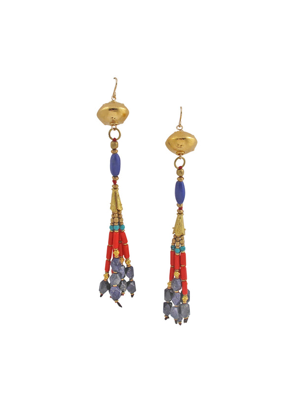 Lapis Coral Gold Tassel Earrings